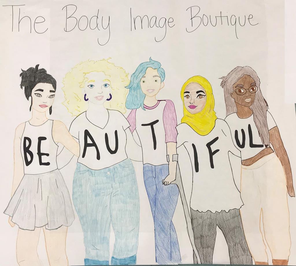 hand drawn artwork about body image
